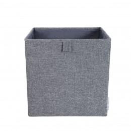 Boîte de rangement cube en tissu gris chiné